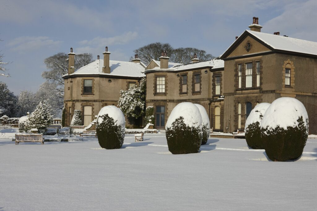 Lotherton hall covered in snow
